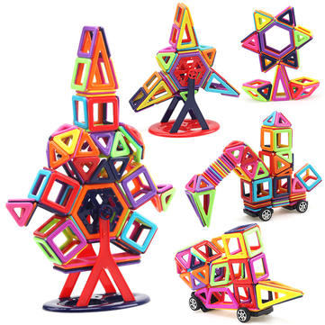 40PCS Magnetic Tiles Kit Building Blocks Set Construction DIY 3D Brick Kids Children Educational Gift Toy