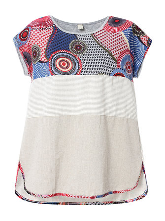 Vintage Women Printed Patchwork Mori Girl Cotton Linen T-Shirt