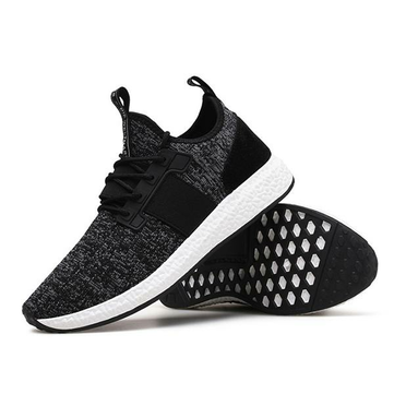 Men Korean Running Shoes Flying Woven Sneakers Breathable Light Increasing Height