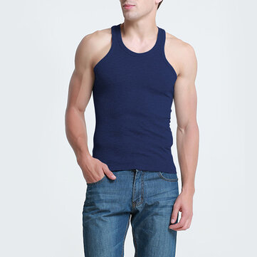 Mens Cotton Crewneck Sports Fitness Vest Casual Solid Color Slim Tank Tops