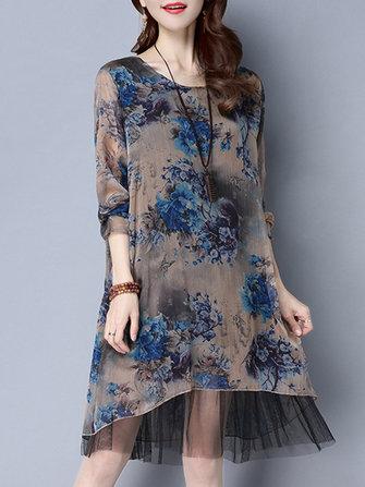 Elegant Women Long Sleeve Blue Flowers Printed Mesh Patchwork Dresses