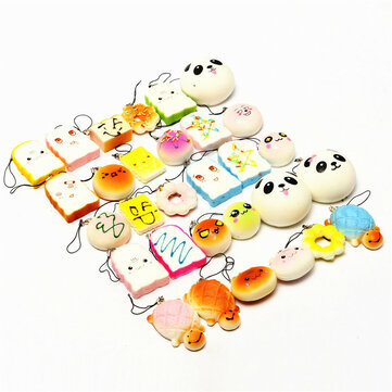 Kawaii 10Pcs Exquisite Squishy Random Charm Soft Panda/Bread/Cake/Buns Phone Straps Toys Decor