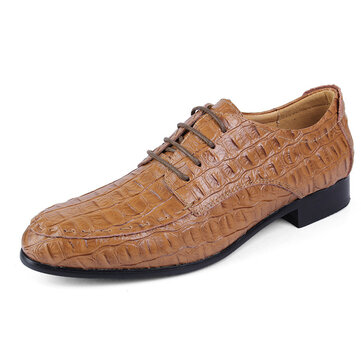 US Size 6.5-12 Big Size Men Lace Up Leather Oxfords Pointed Toe Formal Shoes
