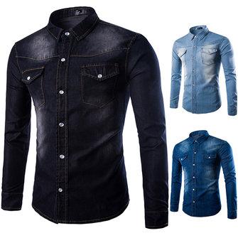 Mens Fashion herfst met lange mouwen Personality Denim Turn-down kraag Casual Shirt