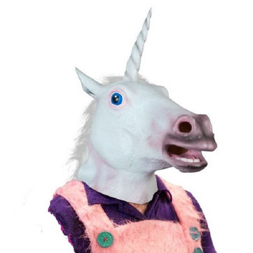 Magical Costume Party Halloween Adult Unicorn Latex Head Mask