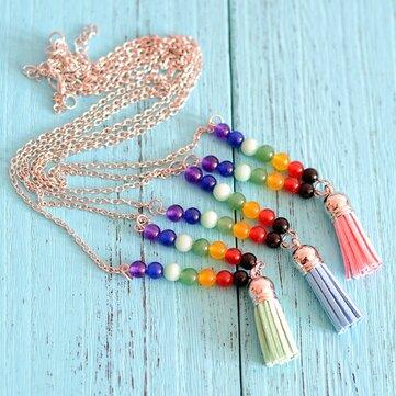 Fashion Natural Stone Colorful Buddha Beads Tassel Necklace
