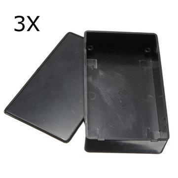 3pcs plastica nera scatola elettronica custodia dello strumento 100x60x25mm