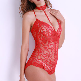 Sexy Lace Transparent Flirty Deep V Chemise de nuit Hollow Out Erotic Neck Straps Teddies