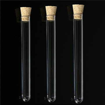 Buy 10/30pcs 150x16mm 20ml Transparent PP Test Tubes With Cork Stopper for $8.99 in Banggood store