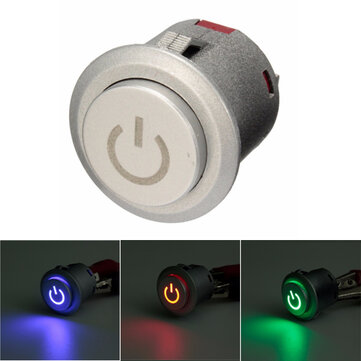 12V 10A 22mm LED Autolock Power Push Button Switch ON/Off 3 Colors