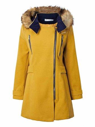 Mulheres de pele destacável patchwork com capuz duplo zíper casaco de lã