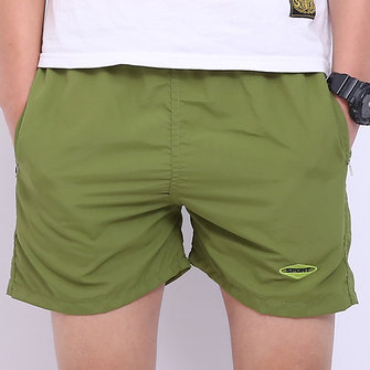 Mens Zomer Strand Casual Sport Shorts Elastische Taille Losse Solid Color Shorts
