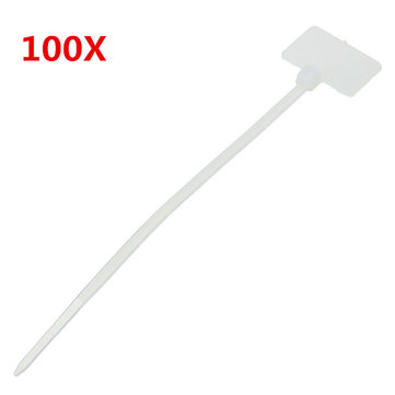 Buy 100pcs White Nylon Zip Cable Tie Label Strap Strip With Marking Tag 3X100mm for $1.99 in Banggood store