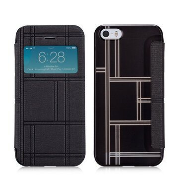 MOMAX Smart Window View Flip PU Leather Cover Beschermhoes Voor iPhone 5S