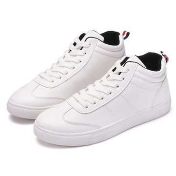 Men Shoes PU Lace Up Casual Outdoor High Top Fashion Sneakers