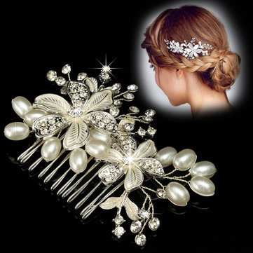Bride Flower Rhinestone Crystal Pearl Hair Comb Elegant Wedding Prom Bridal Headpiece