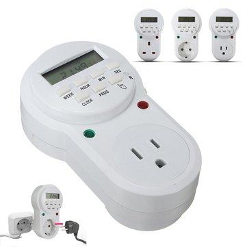 ETU-63A Interruptor programable digital del zócalo del contador de tiempo programable de 7 días 12/24 horas enchufe de US / EU / UK