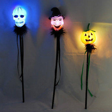 Skull Head Witch Pumpkin Shape Halloween LED Flashing Bar Glow Stick