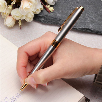 Jinhao 031 Ballpoint Pen Stainless Steel Golden Clip Push Fine Blue Ink Business