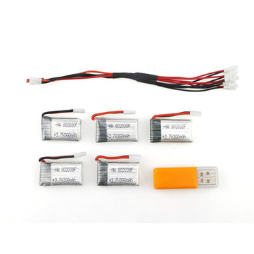 5 x 3.7V 300mAh Battery With 1 to 5 Charging Cable For Eachine E55