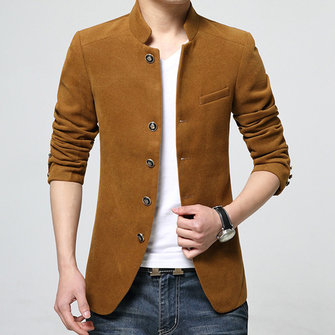 Buy Mens Casual Slim Fit Woolen Single-breasted Stand Collar Suit Coat for $63.60 in Banggood store