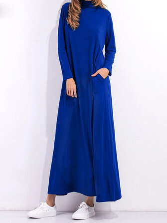 Casual Women Long Sleeve Pure Color Turtleneck Pocket Long Dress