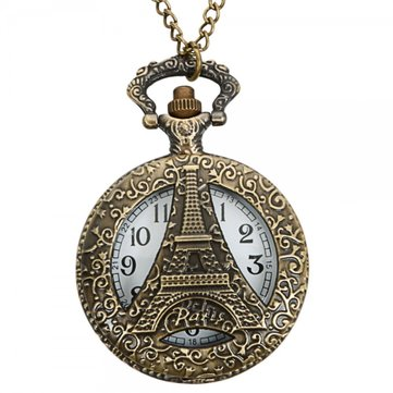 Vintage Hollow Tour Eiffel Montre en bronze à quartz