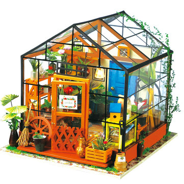 Robotime 1/24 DIY House Kit Cathy Flower Greenhouse DG104 Gift Collection Assembly Miniature Model