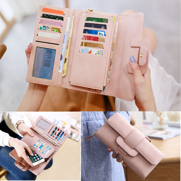 Women Fashion Large Capacity PU Multi Slot Button Hand Wallet Bag For Phone Under 5.5-inch