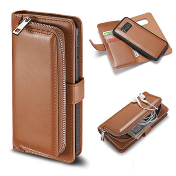 Bakeey™ Detachable Magnetic PU Leather Card Slots Zipper Wallet Case for Samsung Galaxy S8 Plus