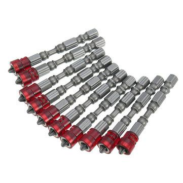 10pcs 65mm PH2 Embout de Tournevis Magnétique 1/4 Pouce Manche de Tournevis Hexagonal