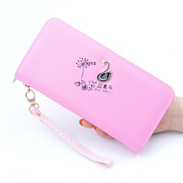 Women Swan Zipper Long Wallets Candy Color Clutches Bags Card Holder Coin Bags
