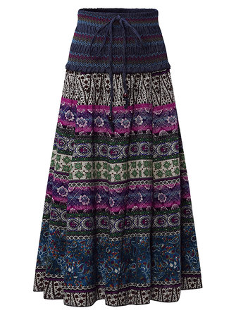 Summer Bohemian Printed High Elastic Waist Women Skirts