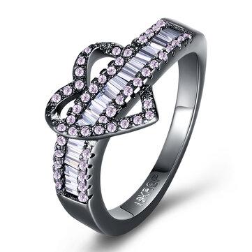 INALIS Women's Heart Zircon Finger Ring Charm Finger Ring for Women