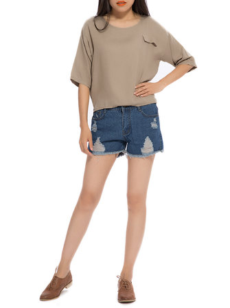 Loose Women Summer Pure Color Pocket Slit High Low T-shirt