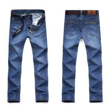 Jeans mi-montants en denim pour hommes Summer Plus Pantalons droits en taille