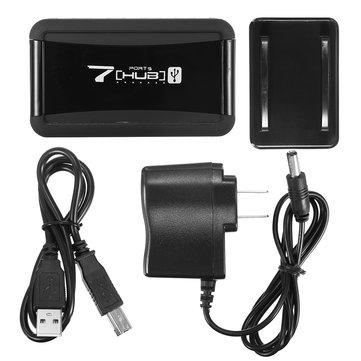 AB / ABD Dikey 7 Portlu USB 2.0 Yüksek Hızlı Hub + AC Güç Adaptörü Rasperry Pi PC için
