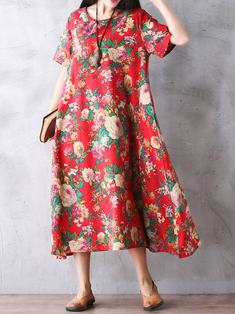 Floral Printed Women Loose Short Sleeve Maxi Dresses