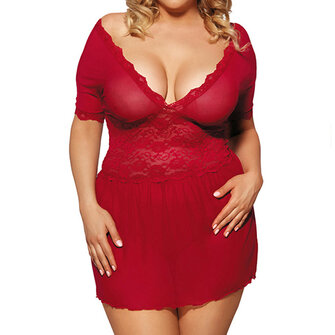 Plus Size Sexy Double V Lace Mesh Sleepwear See-through Temptation Babydoll Nightdress For Woman