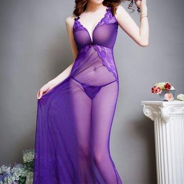 Dark V See Through Lace Mesh Back Cross Belts Chemise Temptation Bow Spaghetti Strap Nightdress