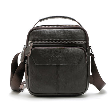 Vintage Genuine Leather Stitching Casual Crossbody Shoulder Bag For Men