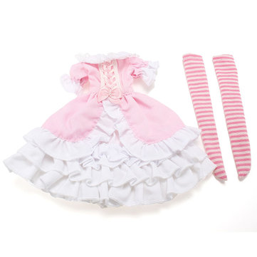 BBGirl 30cm 35cm BJD Doll Dress Pink Bowknot Party Fashion Clothes DIY Accessories Toy