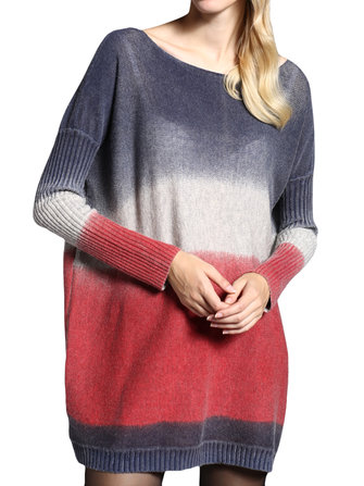 Women Loose Long-Sleeve Pullover Printing Gradient Knitted Basic Sweater Dress
