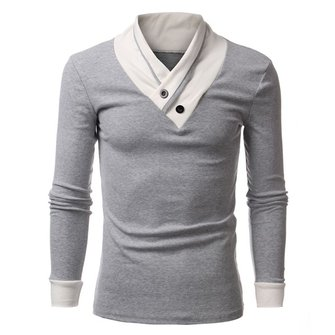Mens Fashion Casual Slim fit Solid Color Buttons V-Neck Long Sleeve T-shirt Tee