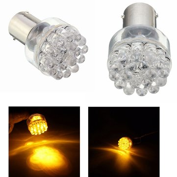 2pcs BAU15S 1156 12V DC Amber Turn Signal Light Lamp Bulb For Motorbike Auto Car Vehicles Boats RVs