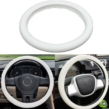 33cm White Leather Texture Soft Silicone Auto Car Steering Wheel Cover Shell