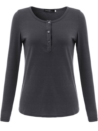 Sexy Casual Women Solid O Neck Button Long Sleeve Slim T-Shirt