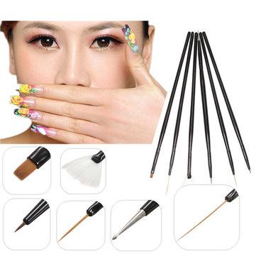6Pcs Nail Art Pen Black Dotting Brush Set Painting Tool Kits Drawing DIY UV Gel Polish