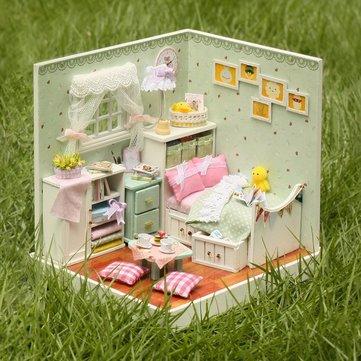 Cuteroom casa de muñecas de madera DIY El mago de Oz modelo de decoraciones hechas a mano con LED luz y la cubierta