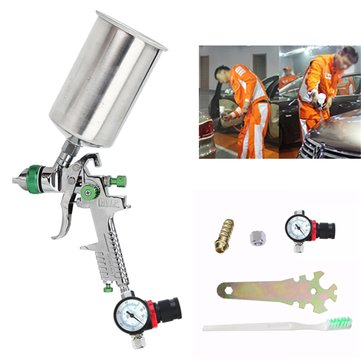 2.5mm HVLP Spray Auto Paint Tool Gravity Feed Spray Gun Metal Flake Primer Nozzle with Gauge 1128218